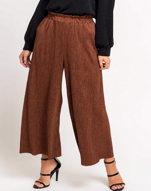 Textured Wide Leg Tunic Pants