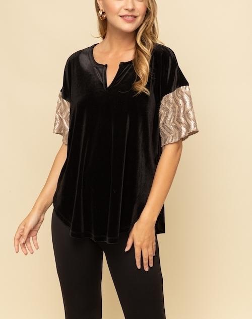 Sequin Sleeve Velvet Top