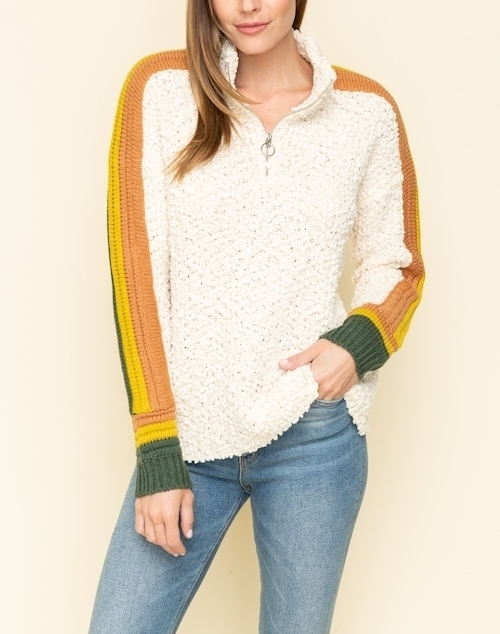 Pull Up Zipper Color Block Sleeve Sweater