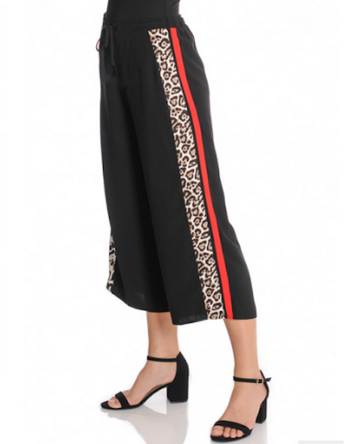Leopard Pull On Pant with Contrast