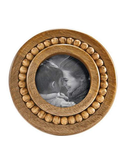 Small Round Beaded Wood Frame