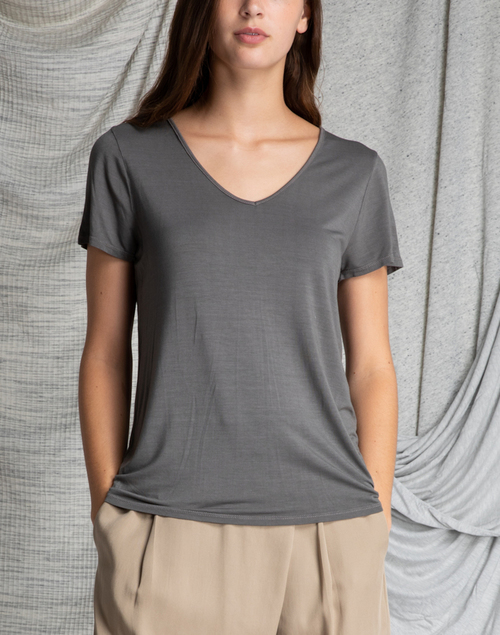 V Neck Slim Short Sleeve Top