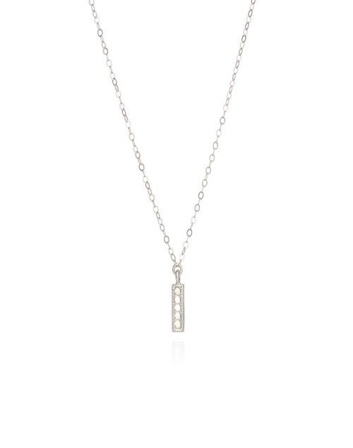 Vertical Bar Necklace Sterling Silver 16-18""