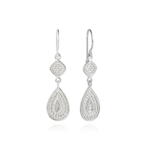 Beaded Cushion And Teardrop Sterling Silver Earring