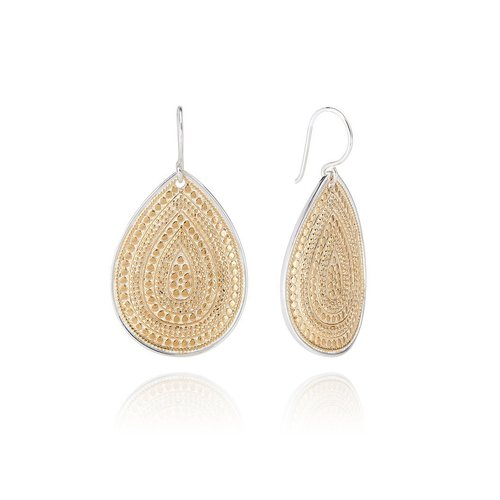 Large Beaded Teardrop Gold Plated Earring