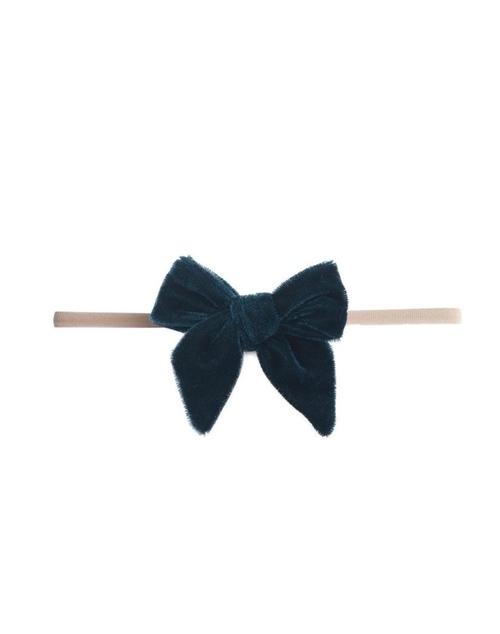 Velvet Skinny Bow Headband - Pine