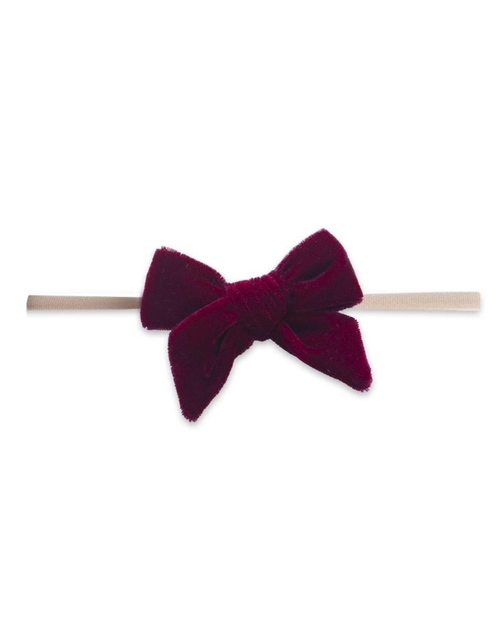 Velvet Skinny Bow Headband - Ruby