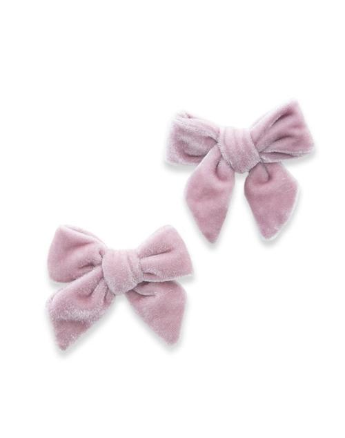Velvet Bow Clip 2 PK - Rose