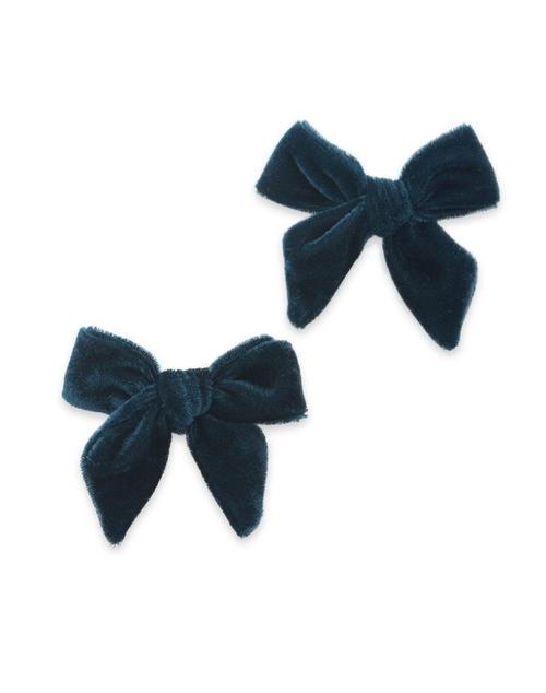 Velvet Bow Clip 2 PK - Pine