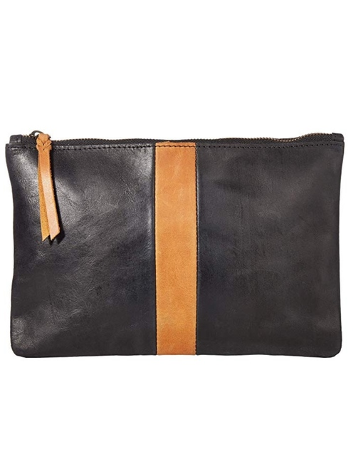 Martha Zip Pouch - Black/Cognac