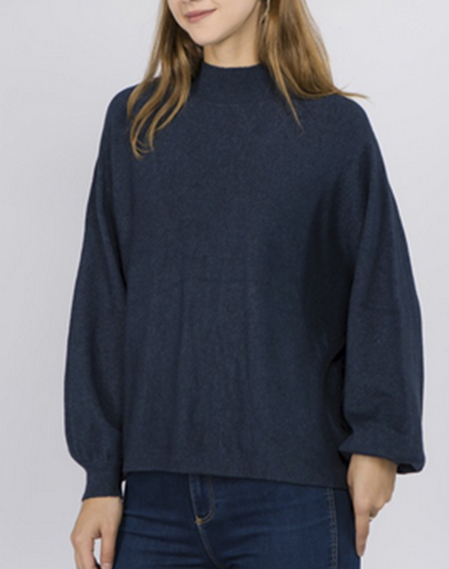 Mock Neck Ballon Sleeve Pullover