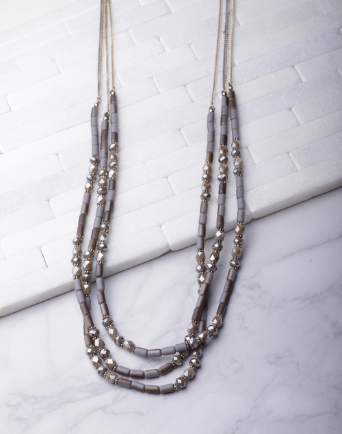 Grey Beaded Layered Long Necklace