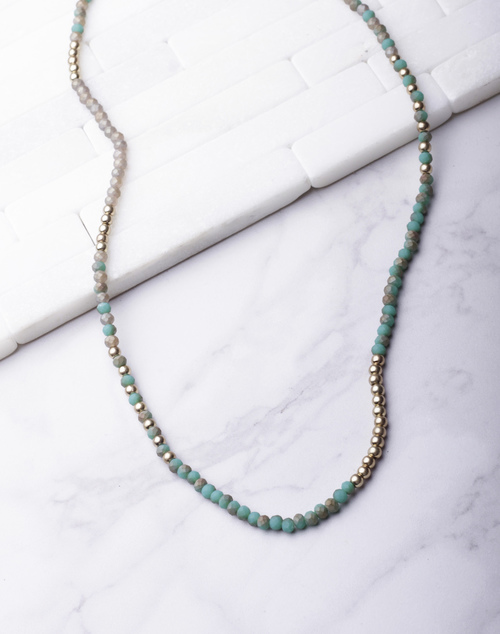 Matte Beaded Long Necklace