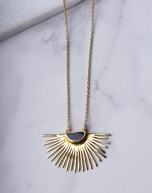 Starburst Long Necklace Onyx 18K Gold Plated