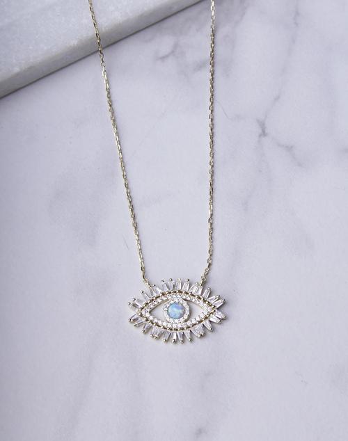 Fancy CZ Opal Evil Eye Necklace