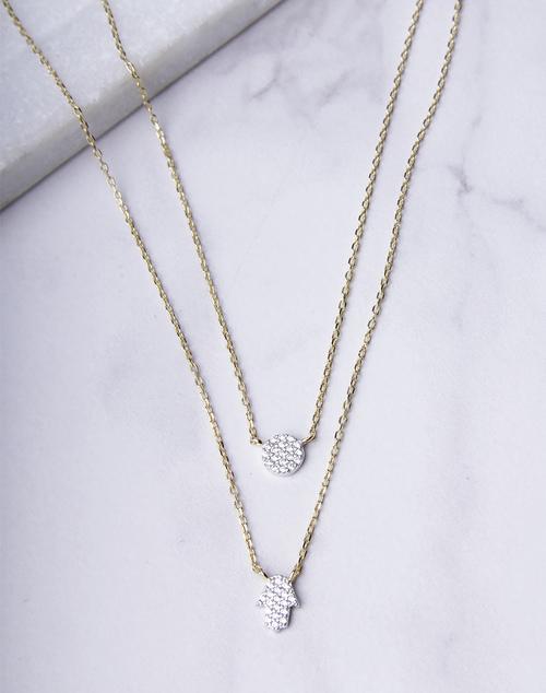 Mini Pave Hamsa Hand Necklace
