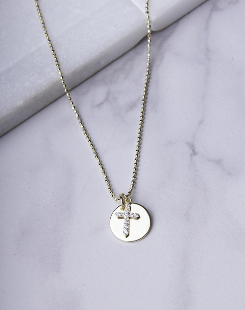 CZ Small Cross Disc Necklace