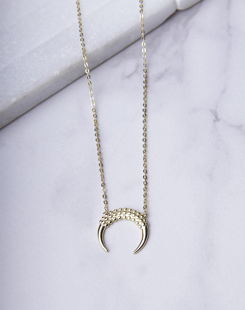 Beaded Crescent Horn Necklace
