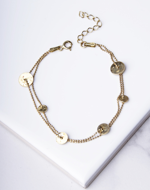 Multi Chain Hammered Disc Bracelet