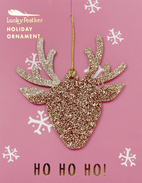 Gold Glitter Reindeer Ornament