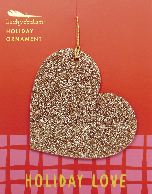 Gold Glitter Heart Ornament