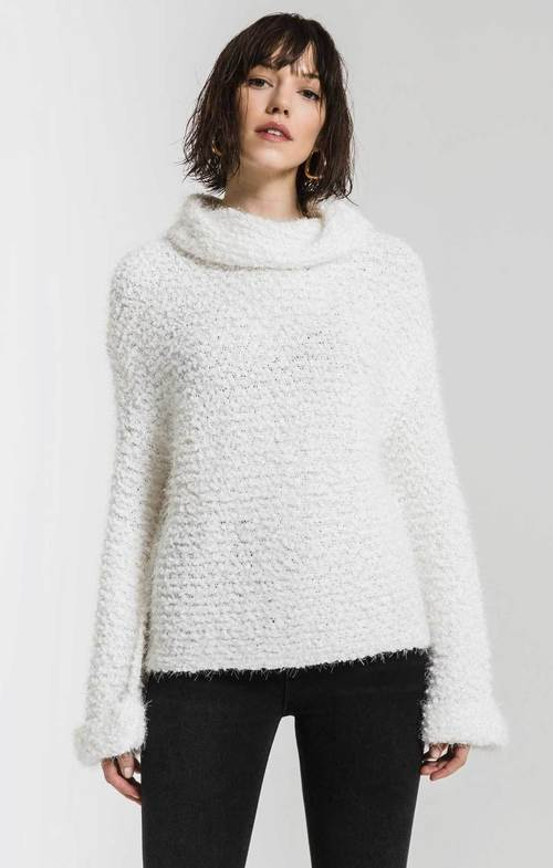 Freja Snow White Cowl Turtle Neck Sweater