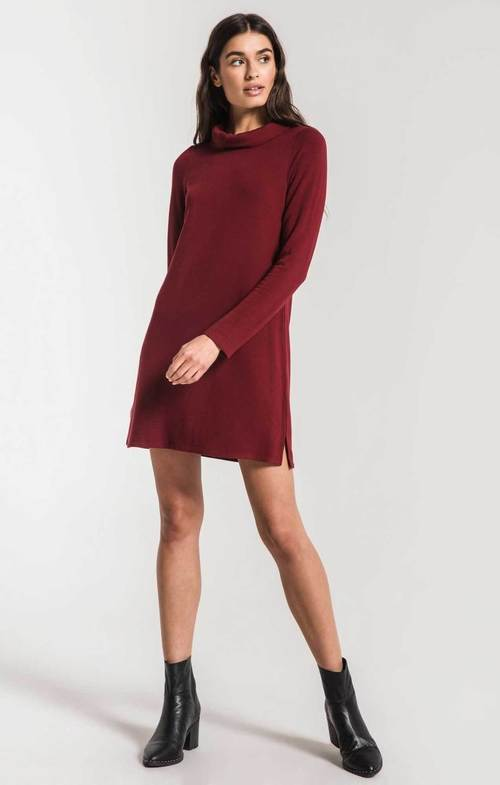 The Premium Fleece Cabernet Turtle Neck Dress