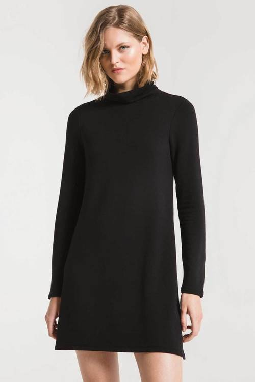 The Premium Fleece Black Turtle Neck Dress
