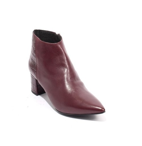 Burgundy Leather Fleece Zip Pointy Toe Ankle Boots