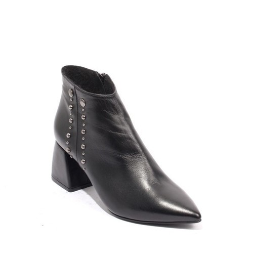 Black Leather Fleece Zip Pointy Toe Ankle Boots