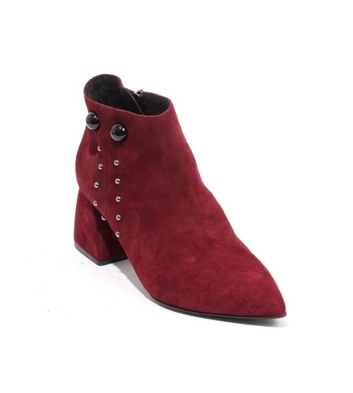Burgundy Suede Fleece Zip Pointy Toe Ankle Boots
