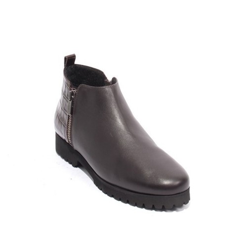Brown Leather Fleece Platform Zip Ankle Boots