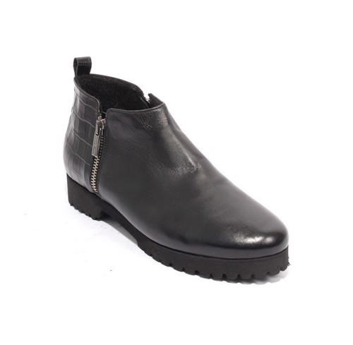 Black Leather Fleece Platform Zip Ankle Boots