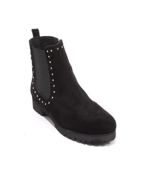 Black Suede Fleece Elastic Zip Ankle Boots