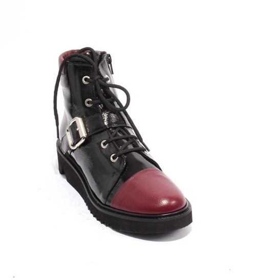 Black Patent Burgundy Leather Zip Wedge Ankle Boots