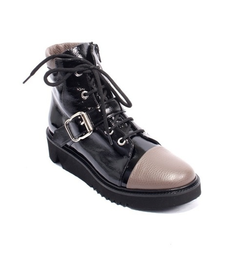 Black Patent / Beige Leather Zip Wedge Ankle Boots