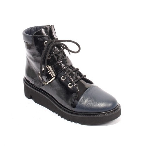Black / Navy Patent Leather Buckle Zip Lace Ankle Boot