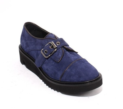 Navy / Black Suede / Leather Platform Buckle Shoes
