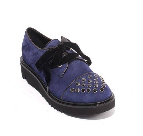 Navy / Black Suede / Leather Crystal Platform Lace Shoes