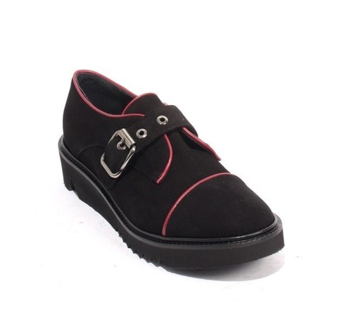 Black / Bordo Suede / Leather Platform Buckle Shoes