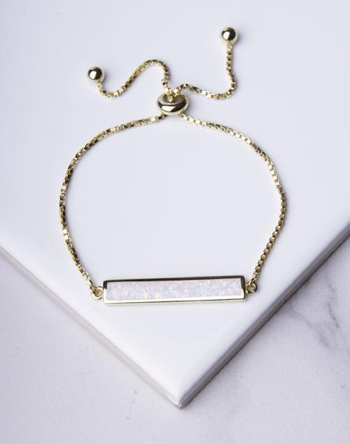 White Opal Bar Pull Bracelet