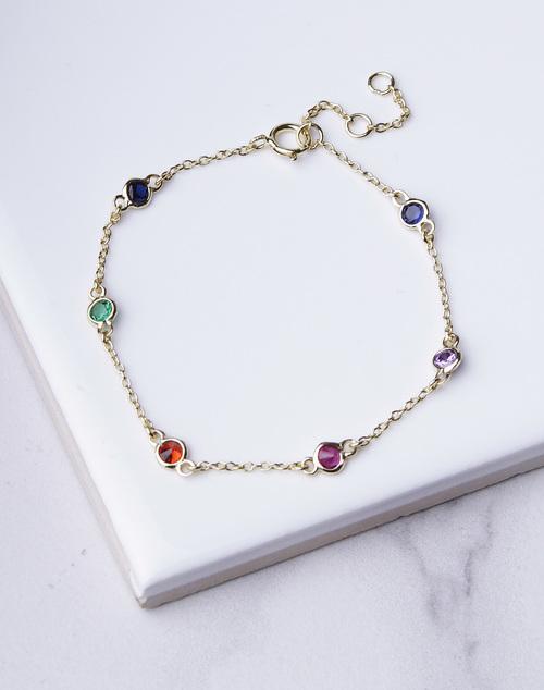 Small Rainbow Bezel Bracelet