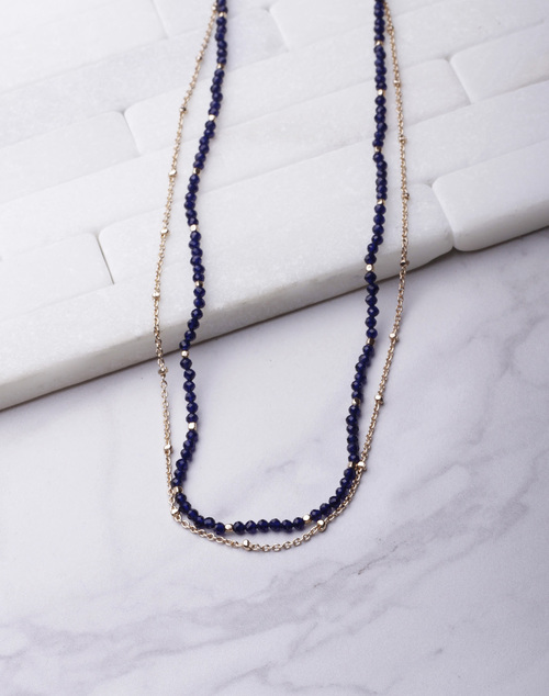 Tiny Beaded Chain Layered Necklace