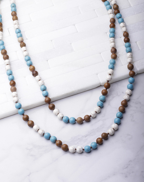 Long Stone Beaded Wrap Necklace