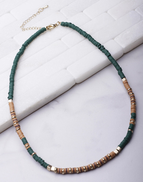 Disc Bead Short Necklace