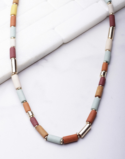 Stained Wood Beaded Necklace