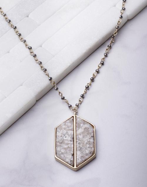 Geo Stone Pendant Long Necklace