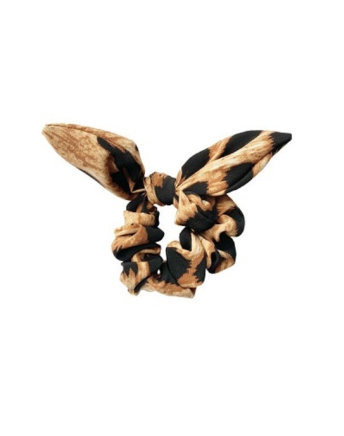 Dark Animal Print Bow Scrunchie