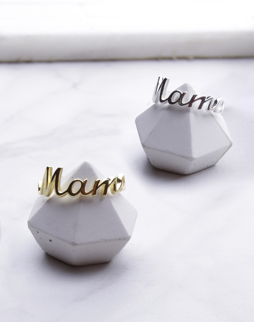 Mama Script Ring
