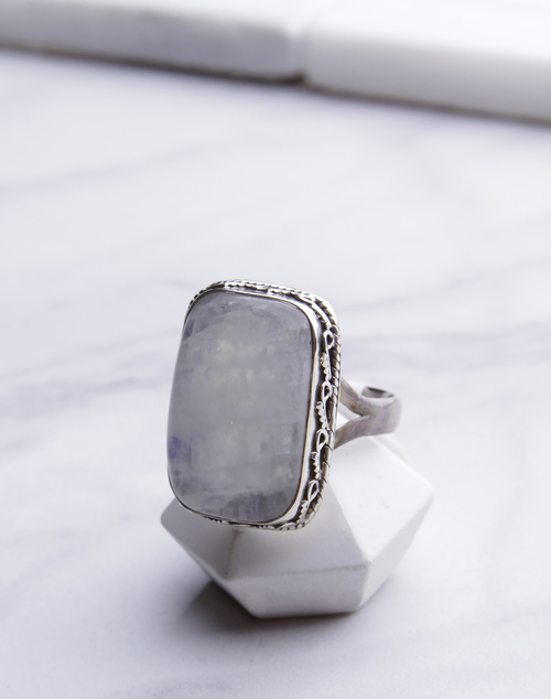 Rectangle Moon Ring
